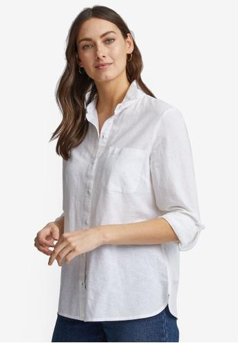 Dorothy Perkins white Ivory Linen Shirt C213DAAC85976DGS_1