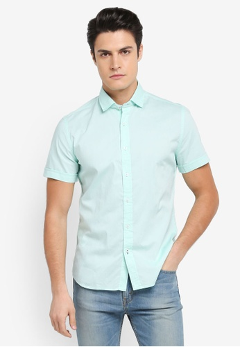 MANGO Man 綠色 修身短袖襯衫 AB12FAA301DDCAGS_1