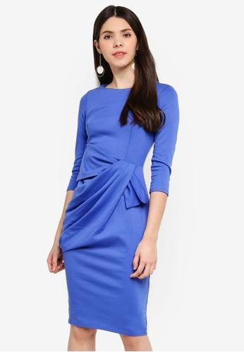 Goddiva 藍色 Drape Bow 洋裝 F7198AA5C67721GS_1