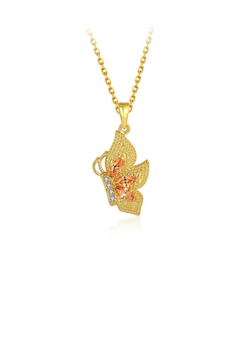 Glamorousky gold Fashion and Elegant Plated Gold Butterfly Pendant with Champagne Cubic Zircon and Necklace D8F89AC3D32B1AGS_1