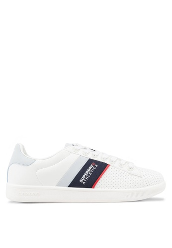 Superdry white Sleek Tennis Trainers D5D57SH749F6EDGS_1