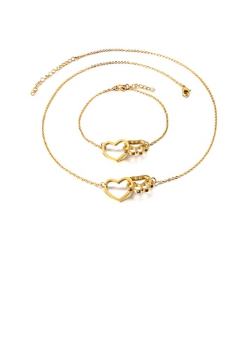 Glamorousky silver Fashion Simple Plated Gold Hollow Heart-shaped Cat Claw 316L Stainless Steel Necklace and Bracelet Set 159F1ACF6C3640GS_1