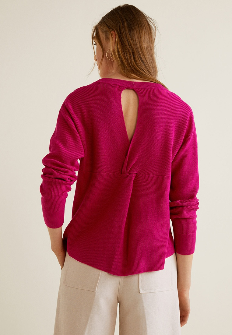 Bright Pink Back Sweater Mango Vent OvBwt