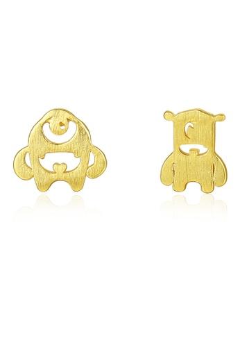SUNRAIS gold Premium Silver S925 golden cute earrings 68FB0AC87AF1D5GS_1