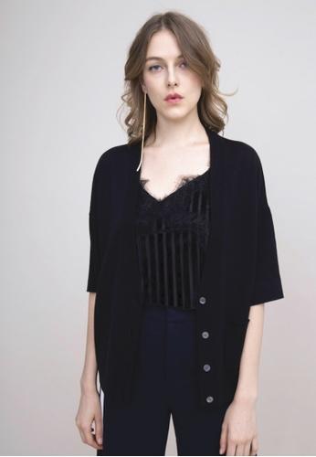 KLAPS 黑色 美麗諾羊毛短袖針織外套 A8721AA1936251GS_1