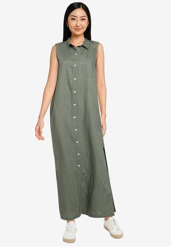 GAP green Linen Maxi Shirt Dress 95408AA4F10E8CGS_1