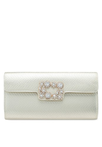 Unisa gold Deboss Pattern Dinner Clutch With Glittering Stones & Crystal F9611ACF23CC01GS_1