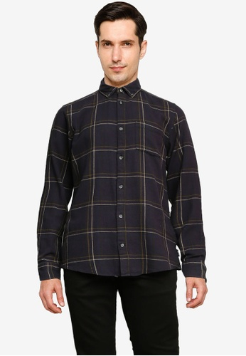 Only & Sons navy Eamon Long Sleeve Checked Shirt A6B8CAAD94A888GS_1
