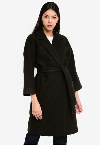 ONLY black Lara 7/8 Sleeve Wool Coat 6FA29AADC85E41GS_1