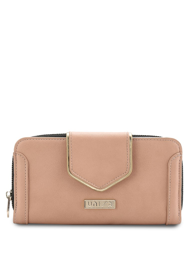 Faux Leather Metallic Edge Ladies Zip-Up Clutch Wallet