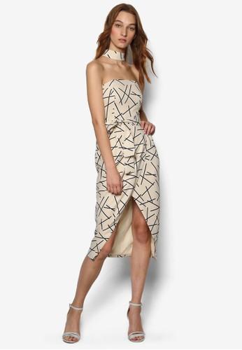圍脖抽象印花連esprit 台北身裙, 服飾, 洋裝