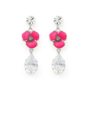 Glamorousky silver Pink Flower Earrings with Silver Austrian Element Crystal 82BAFACCF79DBEGS_1