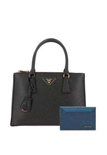 PRADA black PRADA SMALL GALLERIA TOTE BAG AND CARD CASE SET 28CB4AC64D6581GS_1
