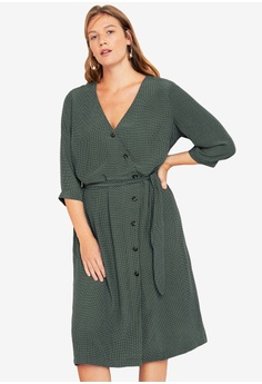 68c11ddf5e5 Violeta by MANGO green Plus Size Wrap Polka-Dot Dress 0AF90AA56F2FE4GS 1
