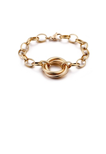 Glamorousky silver Simple Temperament Plated Gold Geometric Circle 316L Stainless Steel Bracelet 52030ACF5E84C8GS_1