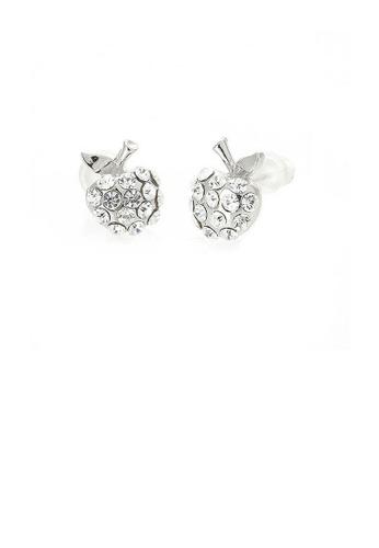 Glamorousky silver Glistening Apple Earrings with silver Austrian Element Crystals 63AEBACCC8FF33GS_1