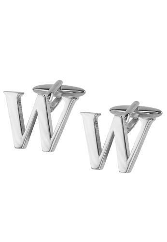 CUFF IT silver Initial Alphabet W Cufflinks CU047AC2VHG6HK_1