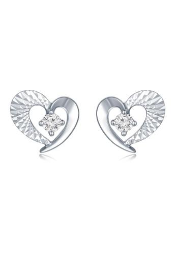 MaBelle silver 18K/750 White Gold Diamond Heart Earrings 6AC46AC17F4708GS_1