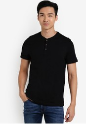 Burton Menswear London 黑色 Black Short Sleeve Grandad T-Shirt BU964AA56UHVMY_1