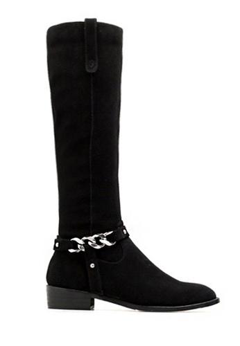 Twenty Eight Shoes 黑色 VANSA 牛絨鏈條真皮長靴 VSW-B3811 8045CSHD7347B4GS_1