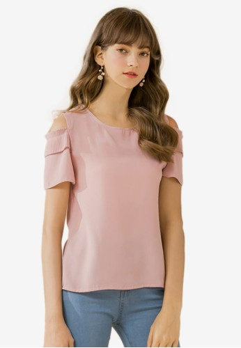 Eyescream pink Cold Shoulder Pleat Sleeves Top 12722AA887C442GS_1