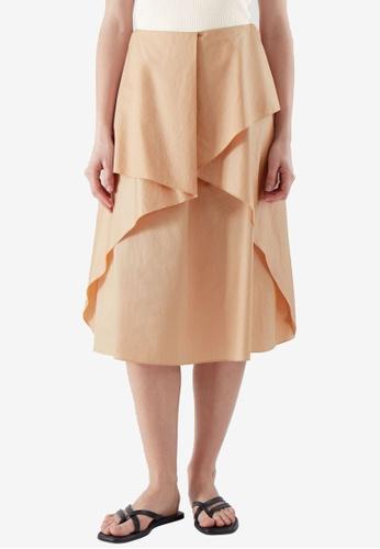 COS beige Draped Skirt D94B6AA2A37D54GS_1