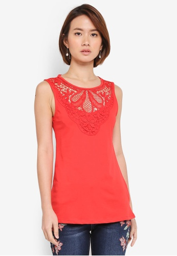 Dorothy Perkins red Red Lace Yoke Shell Top 30B78AA097E45AGS_1