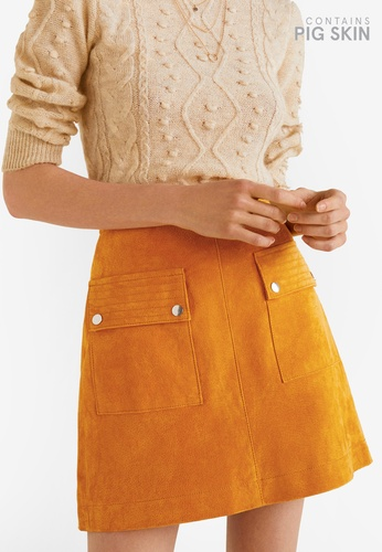 Mango yellow Pocketed Suede Skirt FD524AA7C0623FGS_1