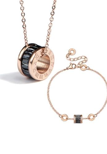 CELOVIS black and gold CELOVIS - Oceane Black Cryolite Necklace + Bracelet Jewellery Set E52BDAC3BB5526GS_1