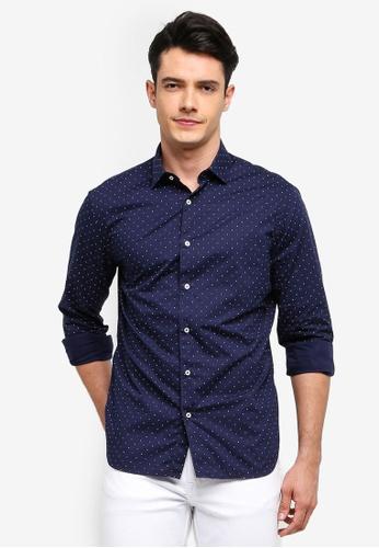 MANGO Man 藍色 修身圓點襯衫 3F0F6AAB95530DGS_1
