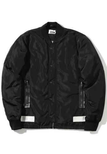 izzue black Reflective tape bomber jacket E79DFAA3EB98EBGS_1