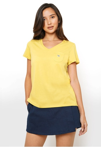 REGATTA yellow V-Neck Tee 4A300AA1616C28GS_1