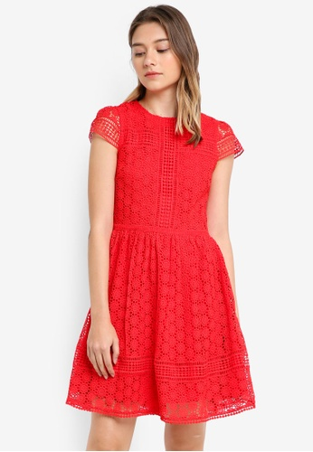 French Connection red Parker Lace Short Sleeve Fit N Flare Dress A93F7AA16E1056GS_1