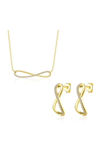 Treasure by B & D gold S045-A Infinity Necklace and Earrings Jewellery Set TR022AC48UJBPH_1