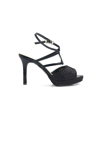 SHINE black Strap Glimmering Heel Sandals 7CB4ESH1A2A9C7GS_1
