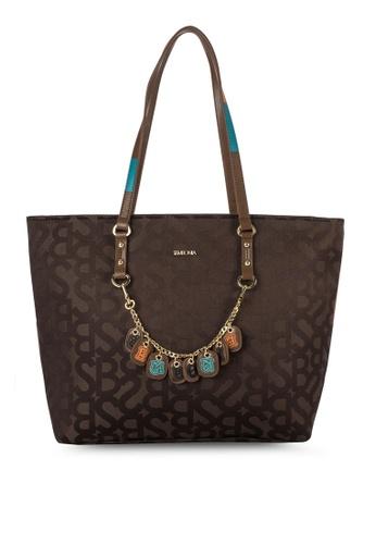 SEMBONIA brown SEMBONIA Initial Jacquard Trimmed Leather Monogram Tote Bag SE598AC82VXLMY_1