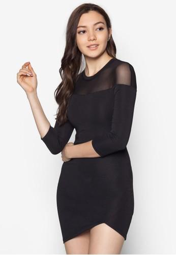 不對稱透明袖洋裝, 服zalora時尚購物網評價飾, 洋裝