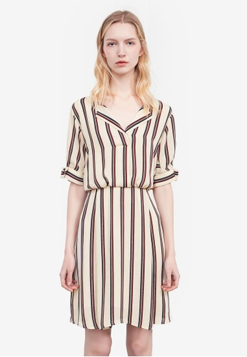 Hopeshow white Striped Shirt Dress D82CEAA6D93BFEGS_1