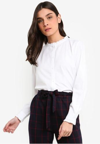 OVS white Cotton Blend Shirt With Flounce 82464AA8E33753GS_1