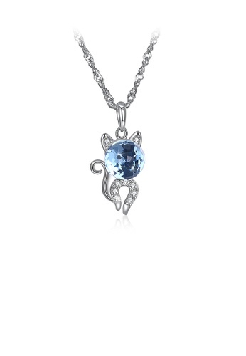 Glamorousky blue 925 Sterling Silver Fashion Cute Little Cat Pendant Necklace with Blue Austrian Element Crystal 2ACA2ACF5F0D7CGS_1