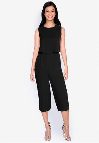 ZALORA WORK black Layered Culotte Jumpsuit C48E0AAC564568GS_1