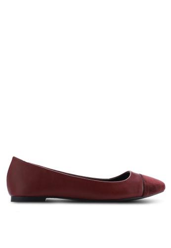 ZALORA 紅色 圓頭天鵝絨懶人平底鞋 4EF87SH7ECC0F2GS_1