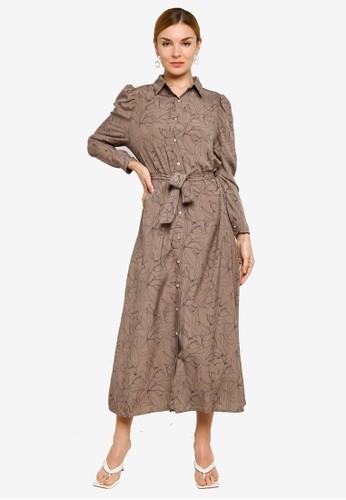BYN brown Muslimah Maxi Dress 575A4AAF55B729GS_1