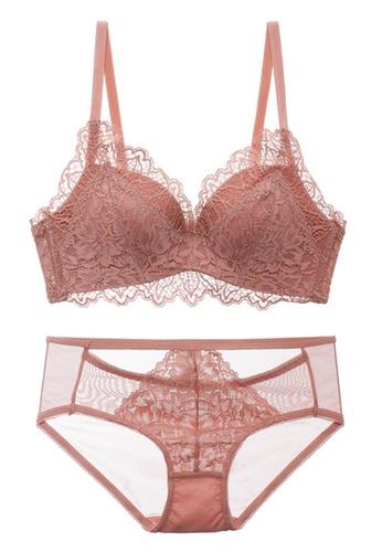 ZITIQUE Comfortable Lace Non-steel Ring Breathable Bra Set-Pink 9DA87US44D378CGS_1