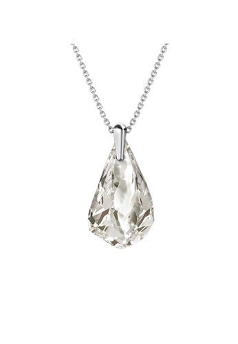 Her Jewellery silver Comet Droplets Pendant (Crystal White; White Gold) - Made with premium grade crystals from Austria E15FDACBAD7A14GS_1