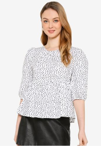 Miss Selfridge white Ivory Spot Print Poplin Blouse 0A918AA9473728GS_1