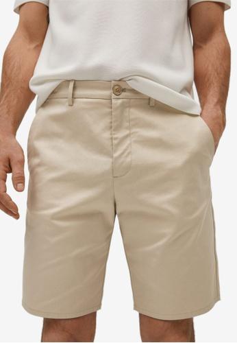 MANGO Man beige Cotton Chino Style Bermuda Shorts 247E6AA95DA228GS_1