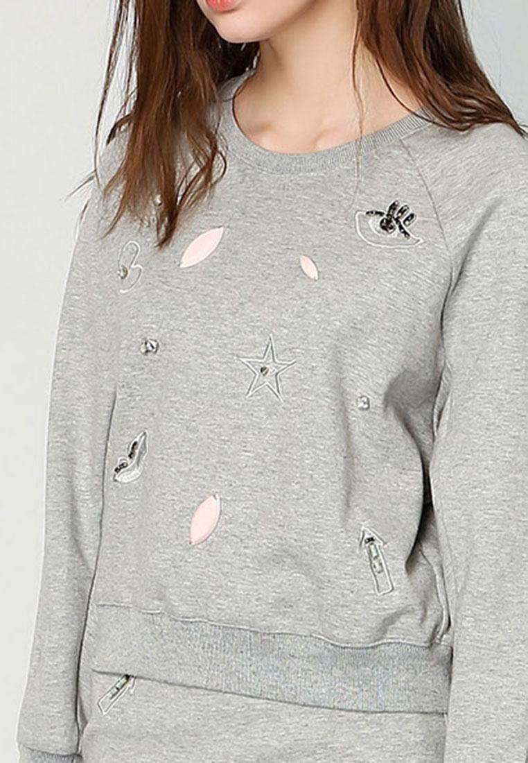Grey Hopeshow Woolen Sleeve Long Sweater Light zqvagnxqXr