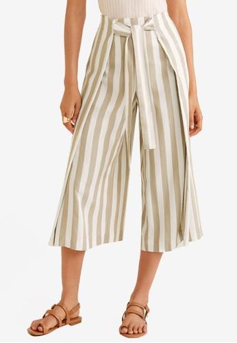 MANGO beige Printed Culotte Trousers 3BE38AA02961E5GS_1