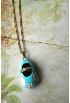 Mary Jane Shoe Pendant Necklace (Blue)